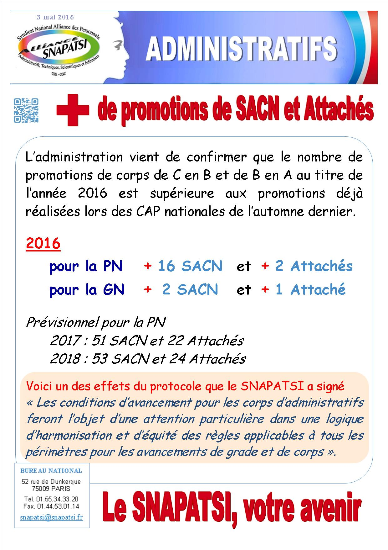 Tract administratifs Avancements 2016 2017 2018 03 05 2016