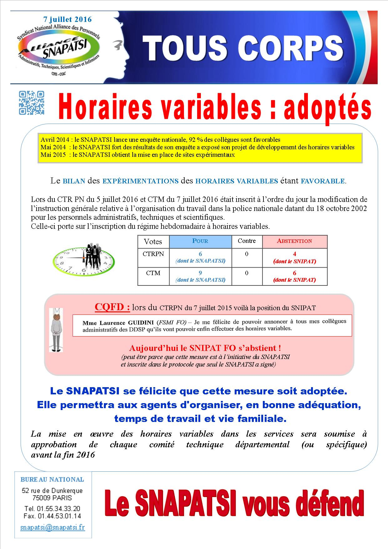 Tract commun Horaires variables CTM